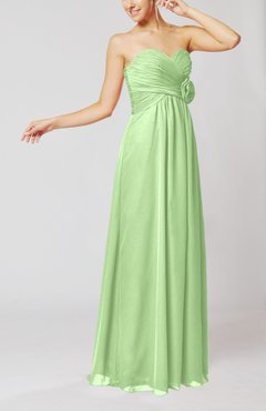 Pale Green Simple Sheath Sweetheart Sleeveless Chiffon Floor Length Bridesmaid Dresses