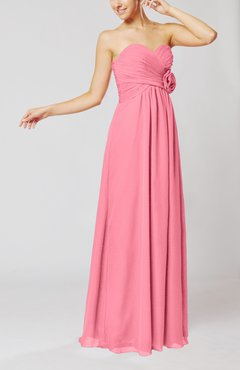 Pink Simple Sheath Sweetheart Sleeveless Chiffon Floor Length Bridesmaid Dresses