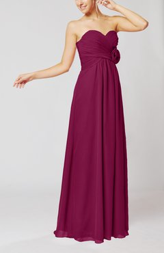 Raspberry Simple Sheath Sweetheart Sleeveless Chiffon Floor Length Bridesmaid Dresses