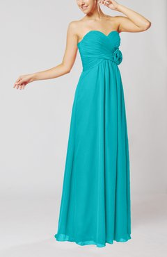 Teal Simple Sheath Sweetheart Sleeveless Chiffon Floor Length Bridesmaid Dresses