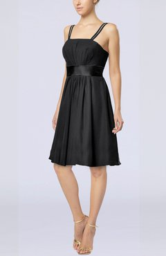 Black Plain A-line Spaghetti Chiffon Mini Sash Wedding Guest Dresses