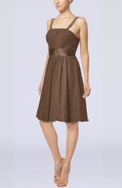 Brown Plain A-line Spaghetti Chiffon Mini Sash Wedding Guest Dresses
