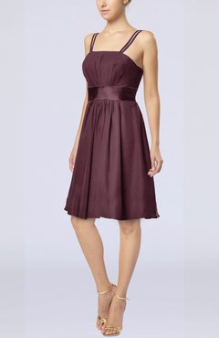 Burgundy Plain A-line Spaghetti Chiffon Mini Sash Wedding Guest Dresses