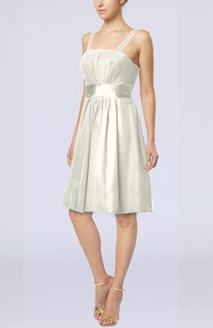 Cream Plain A-line Spaghetti Chiffon Mini Sash Wedding Guest Dresses