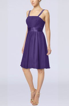Dark Purple Plain A-line Spaghetti Chiffon Mini Sash Wedding Guest Dresses