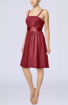 Dark Red Plain A-line Spaghetti Chiffon Mini Sash Wedding Guest Dresses