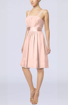 Dusty Rose Plain A-line Spaghetti Chiffon Mini Sash Wedding Guest Dresses