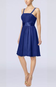 Electric Blue Plain A-line Spaghetti Chiffon Mini Sash Wedding Guest Dresses
