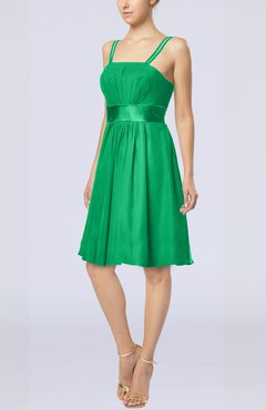 Green Plain A-line Spaghetti Chiffon Mini Sash Wedding Guest Dresses