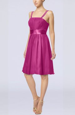 Hot Pink Plain A-line Spaghetti Chiffon Mini Sash Wedding Guest Dresses