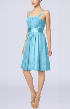 Light Blue Plain A-line Spaghetti Chiffon Mini Sash Wedding Guest Dresses