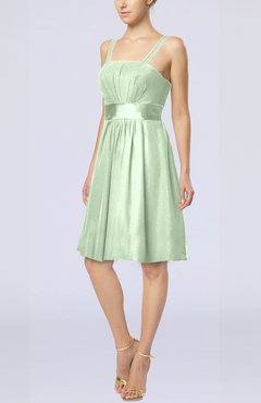 Pale Green Plain A-line Spaghetti Chiffon Mini Sash Wedding Guest Dresses