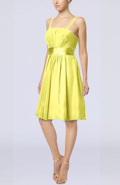 Pale Yellow Plain A Line Spaghetti Chiffon Mini Sash Wedding Guest Dresses