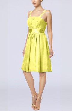Pale Yellow Plain A Line Spaghetti Chiffon Mini Sash Wedding Guest Dresses