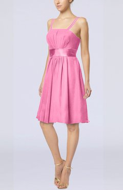 Pink Plain A-line Spaghetti Chiffon Mini Sash Wedding Guest Dresses