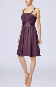 Plum Plain A-line Spaghetti Chiffon Mini Sash Wedding Guest Dresses