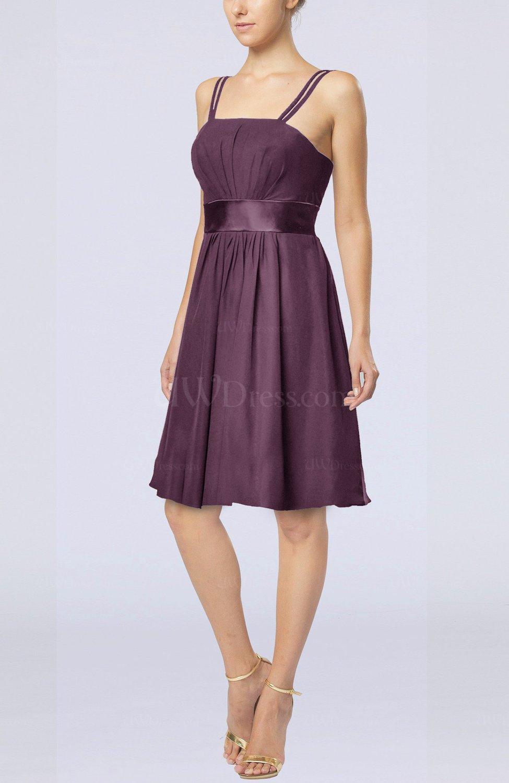 Plum plain a line spaghetti chiffon mini sash wedding for Plain a line wedding dress