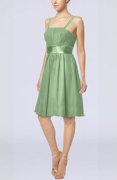 Sage Green Plain A-line Spaghetti Chiffon Mini Sash Wedding Guest Dresses