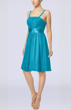 Teal Plain A-line Spaghetti Chiffon Mini Sash Wedding Guest Dresses