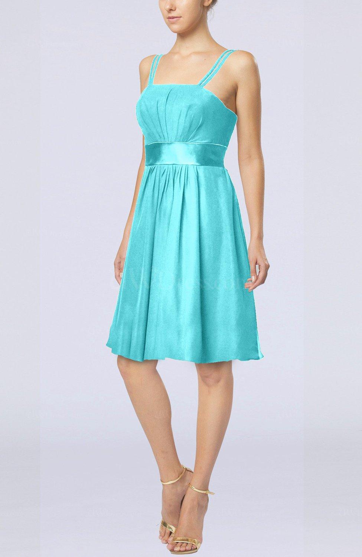 Turquoise plain a line spaghetti chiffon mini sash wedding for Turquoise wedding guest dress