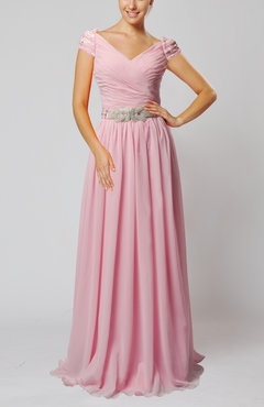 Baby Pink Vintage Sheath V-neck Chiffon Pleated Homecoming Dresses