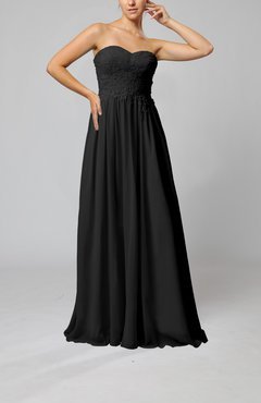Black Elegant Sleeveless Zip up Chiffon Pleated Wedding Guest Dresses