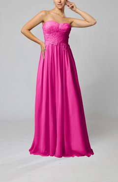 Hot Pink Elegant Sleeveless Zip up Chiffon Pleated Wedding Guest Dresses