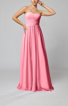 Pink Elegant Sleeveless Zip up Chiffon Pleated Wedding Guest Dresses