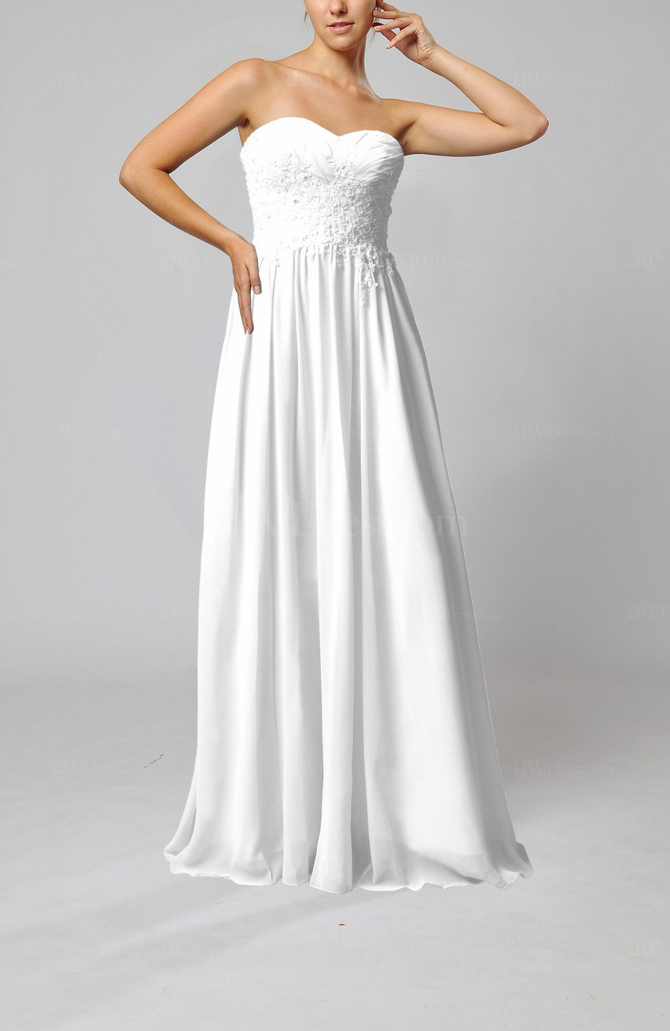 White elegant sleeveless zip up chiffon pleated wedding for White dresses for wedding guests