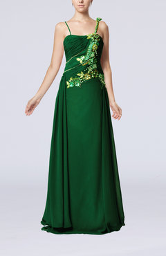 Green Gorgeous Spaghetti Sleeveless Chiffon Floor Length Beaded Party Dresses