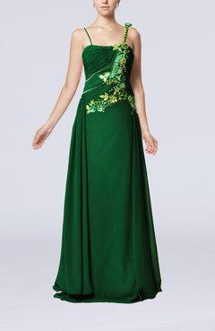 Green Gorgeous Spaghetti Sleeveless Chiffon Floor Length Beaded Party Dresses