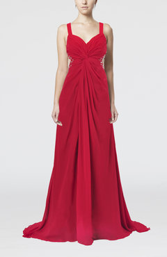 Red Sexy Sheath Sweetheart Chiffon Court Train Ruching Prom Dresses
