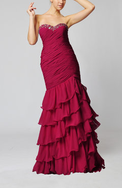 Hot Pink Sexy Trumpet Sweetheart Zipper Floor Length Sequin Party Dresses