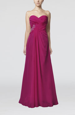 Hot Pink Elegant Sweetheart Chiffon Floor Length Pleated Party Dresses