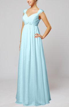 Aqua Elegant Hall Queen Anne Sleeveless Zipper Floor Length Sequin Bridal Gowns