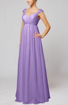 Lilac Elegant Hall Queen Anne Sleeveless Zipper Floor Length Sequin Bridal Gowns