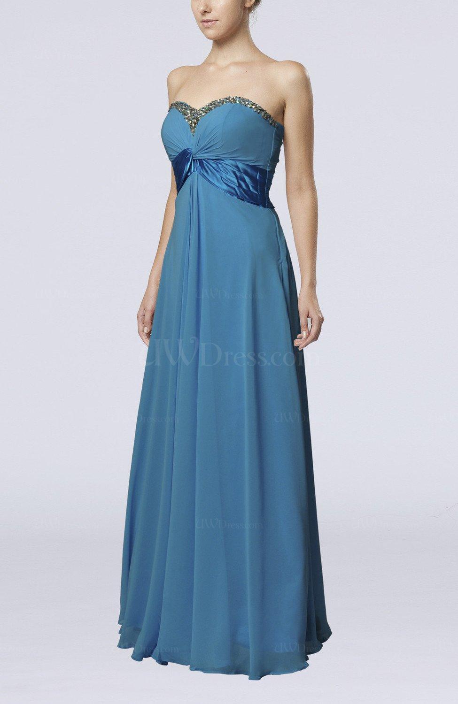 Cornflower blue elegant empire sleeveless zipper chiffon for Elegant guest wedding dresses
