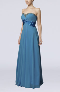 Cornflower Blue Elegant Empire Sleeveless Zipper Chiffon Floor Length Wedding Guest Dresses