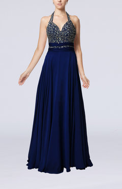 Electric Blue Glamorous Halter Sleeveless Backless Sweep Train Wedding Guest Dresses