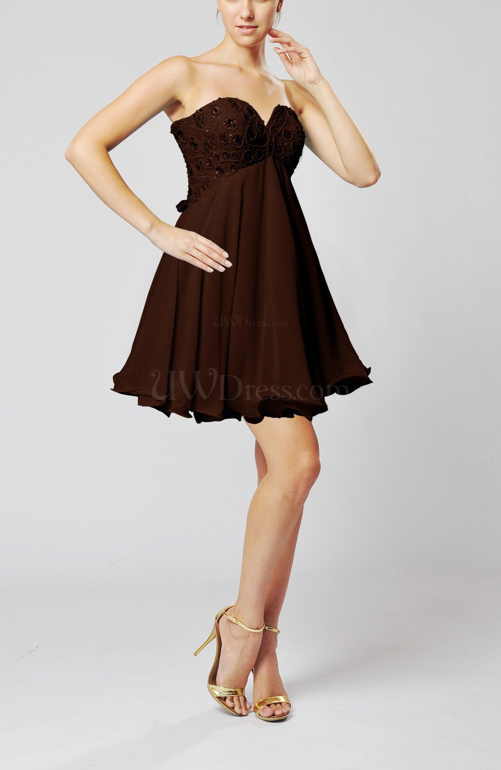 Chocolate brown sexy sweetheart sleeveless backless for Brown dresses for wedding guest