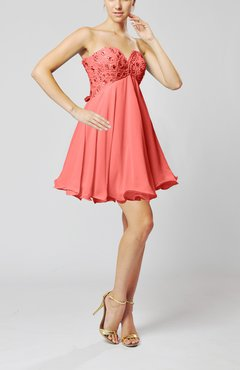 Coral Sexy Sweetheart Sleeveless Backless Chiffon Mini Wedding Guest Dresses