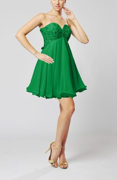 Green Sexy Sweetheart Sleeveless Backless Chiffon Mini Wedding Guest Dresses