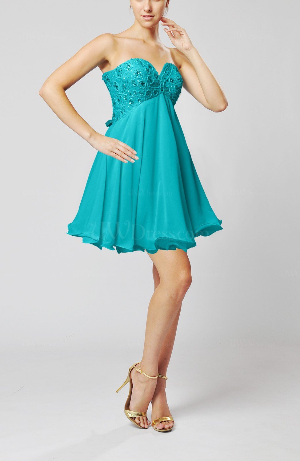 Teal sexy sweetheart sleeveless backless chiffon mini for Sexy dresses for wedding guests