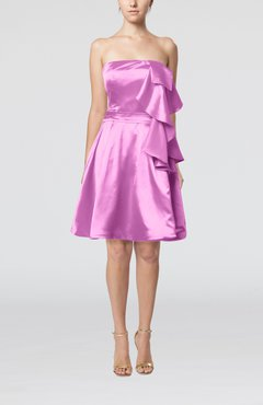 Begonia Plain Zip up Elastic Woven Satin Knee Length Ribbon Club Dresses