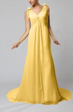 Gold Plain Garden V-neck Sleeveless Backless Chiffon Bridal Gowns