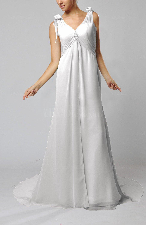 White plain garden v neck sleeveless backless chiffon for Backless chiffon wedding dress