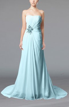 Aqua Elegant Hall Column Strapless Sleeveless Lace up Court Train Bridal Gowns
