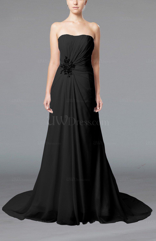 Black Elegant Hall Column Strapless Sleeveless Lace up Court Train ...