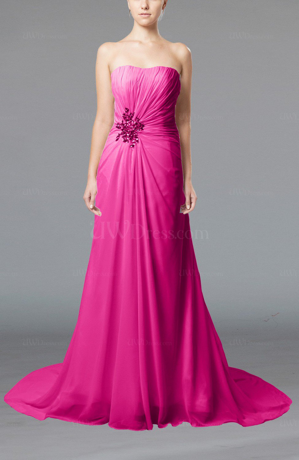 Hot Pink Elegant Hall Column Strapless Sleeveless Lace up Court ...
