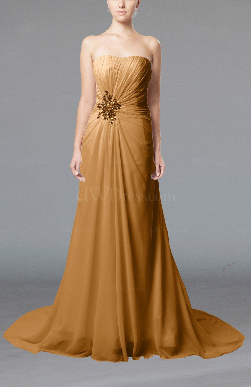 Light brown elegant hall column strapless sleeveless lace for Brown lace wedding dress